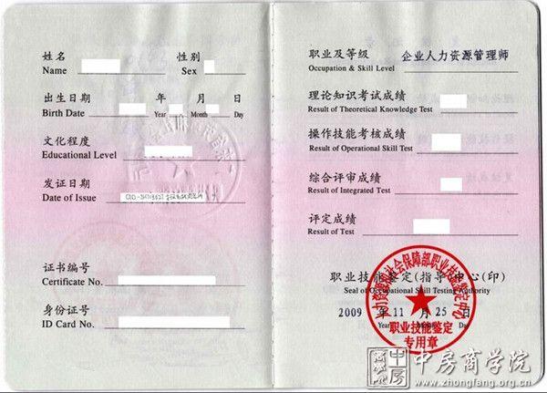 中房商学院人力资源证书