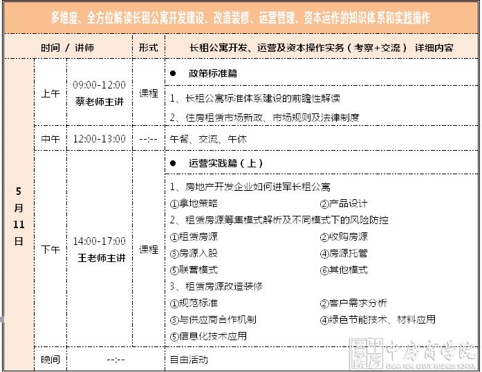 【北京】长租公寓开发、运营及资本操作实务考察+交流(5月11-13日)